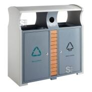 Recyclingstation - Recycling Simple-  EKO, 78 Liter aus Stahl, feuerfest, mit Batteriefach