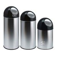 Abfallbehälter -Bullet Bin- 30, 40 oder 55 Liter aus Edelstahl, wahlweise mit Innenbehälter