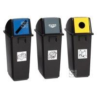 Abfallbehälter -Cubo Lazaro- 58 Liter aus PP, mit Einwurfklappe für Restmüll, Wertstoffe oder Papier
