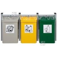 Abfallbehälter -Cubo Loretta- 3er Kombi, à 15 Liter aus Stahl, zur Wandbefestigung