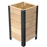 Abfallbehälter -Nature- 50 Liter, aus Stahl und Eichenholz, Lasur Eiche hell/ Mahagoni