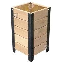 Abfallbehälter -Nature- 50 Liter aus Stahl und Eichenholz, wahlweise mit Deckel, Lasur Eiche hell oder Mahagoni