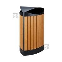 Abfallbehälter -P-Bins 112- 60 Liter aus Stahl mit Kunststoffverkleidung (Holzoptik)