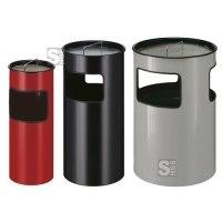 Abfallbehälter -P-Bins 57-, 30, 50 oder 110 Liter aus Stahl, mit Ascher, feuerfest
