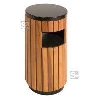Abfallbehälter -P-Bins 71- EKO, 33 Liter, Stahl mit Kunststoffverkleidung (Holzoptik), feuerfest