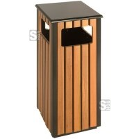 Abfallbehälter -P-Bins 72- EKO, 36 Liter aus Stahl mit Kunststoffverkleidung (Holzoptik)