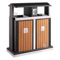 Abfallbehälter -Recycling Wood- EKO, 78 oder 100 Liter aus Stahl, feuerfest, wahlweise mit Ascher