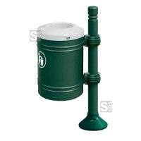 Abfallbehälter -Trend- 40 Liter aus Stahl, wahlweise mit Ascher und Pfosten-Abdeckkappe, selbstlöschend