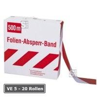 Absperrband -Güte-, VE 5 - 20 Rollen, rot / weiß, Breite 80 mm, verschiedene Längen