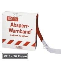 Absperrband -Reißfest-, VE 5 - 20 Rollen, rot / weiß, Breite 80 mm, verschiedene Längen