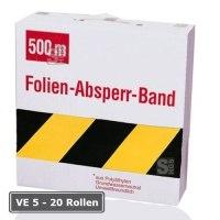 Absperrband -Reißfest- und -Robust-, VE 5 - 20 Rollen, gelb / schwarz, Breite 80 mm, versch. Längen