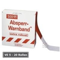 Absperrband -Robust-, VE 5 - 20 Rollen, rot / weiß, Breite 80 mm, verschiedene Längen
