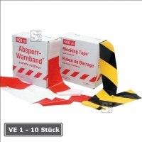 Absperrband -Strong-, Einzelrolle oder VE 10 Stück, reißfest, Breite 80 mm, Länge 500 m, gelb / schwarz oder rot / weiß