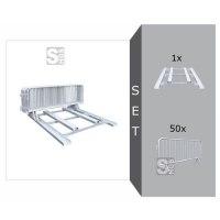 Absperrgitter Komplett-Set -Event- 50 x Absperrgitter + 1 x Stapelpalette