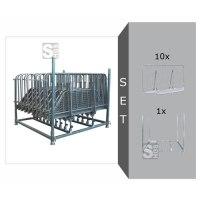 Absperrgitter Komplett-Set, inkl. 10 Absperrgitter -Police- (Länge 2250 mm) und Vierkantrohr-Stapelpalette