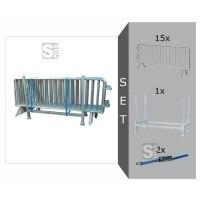 Absperrgitter Komplett-Set, inkl. 15 Absperrgitter Typ B -Control- (Länge 2500 mm), Stapelpalette und Zurrgurten