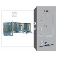 Absperrgitter Komplett-Set, inkl. 15 Absperrgitter Typ D -Rule- (Länge 2500 mm), Stapelpalette und Zurrgurten