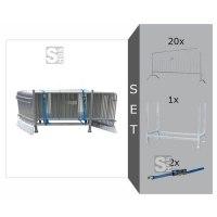 Absperrgitter Komplett-Set, inkl. 20 Absperrgitter Typ D -Rule- (Länge 2000 mm), Stapelpalette und Zurrgurten
