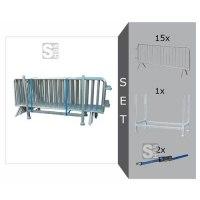Absperrgitter Set, mit 15 Absperrgitter Typ B -Control- (L 2500 mm), Stapelpalette u. Zurrgurten