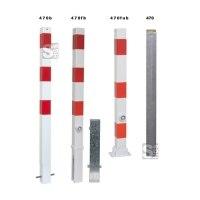 Absperrpfosten -Bollard- 70 x 70 mm aus Stahl, zum Einbetonieren oder Aufdübeln, umleg- o. herausnehmbar o. feststehend, wahlweise mit Ösen
