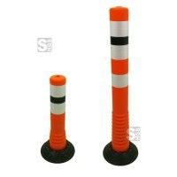 Absperrpfosten -Elasto Orange- Ø 80 mm, zum Aufkleben, überfahrbar mit retroreflektierenden Streifen, Höhe 450 oder 750 mm