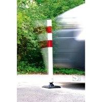 Absperrpfosten -KICKBACK©- Ø 60 mm aus Kunststoff, Höhe 900 mm, rot / weiß, allseitig an- und überfahrbar