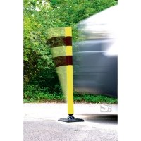 Absperrpfosten -KICKBACK©- Ø 60 mm aus Kunststoff, Höhe 900 mm, schwarz / gelb, allseitig an- und überfahrbar