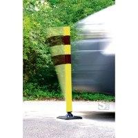 Absperrpfosten -KICKBACK©- Ø 60 mm aus Kunststoff, Höhe 900 mm, schwarz / gelb, an- und überfahrbar