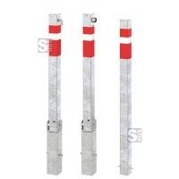 Absperrpfosten -Steel Line- 70 x 70 mm aus Stahl, zum Einbetonieren, umleg- oder herausnehmbar oder feststehend
