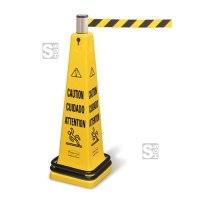 Absperrsystem -Caution- Rubbermaid, tragbar, inkl. Pylon, doppelter Gewichtsring, Zylinder mit Absperrband (1,8 m)