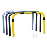 Anlehnbügel / Absperrbügel -Sylt- Ø 48 mm aus Stahl, Höhe 1000 mm, zum Aufdübeln, ohne Farbe, gelb / schwarz oder nach RAL
