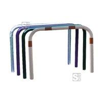 Anlehnbügel / Absperrbügel -Sylt- Ø 48 mm aus Stahl, zum Aufdübeln, ohne Farbe, weiß / rot oder nach RAL