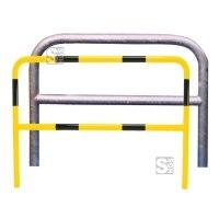 Anlehnbügel / Absperrbügel -Sylt- Ø 48 mm aus Stahl, zum Einbetonieren, mit Querholm, ohne Farbe, gelb / schwarz oder nach RAL
