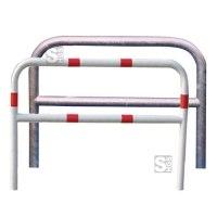 Anlehnbügel / Absperrbügel -Sylt- Ø 48 mm aus Stahl, zum Einbetonieren, mit Querholm, ohne Farbe, weiß / rot oder nach RAL