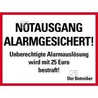Aufkleber Notausgang Alarmgesichert!..., Folie, 200 x 105 mm