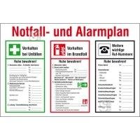 Aushang, Notfall- und Alarmplan mit Symbolen nach DIN EN ISO 7010
