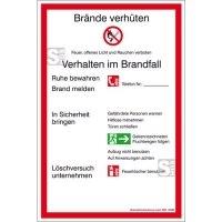 Aushang, Verhalten im Brandfall, 200 x 300 mm mit Symbolen nach DIN EN ISO 7010