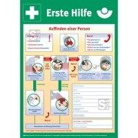 Berufsgenossenschaftlicher Aushang, Anleitung zur Ersten Hilfe bei Unfällen