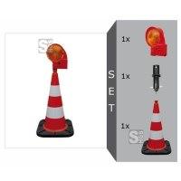 Blitzleuchten-Set -RED I- mit TL-Leitkegel 500 mm, Blitzleuchte -TopFlash- und Leitkegel-Adapter