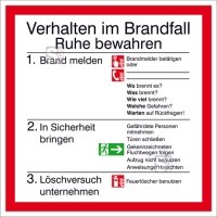 Brandschutzschild, Verhalten im Brandfall mit Symbolen nach DIN EN ISO 7010