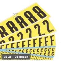 Buchstaben (26 Bögen) oder Ziffern (25 Bögen), Kombipackungen, selbstklebend