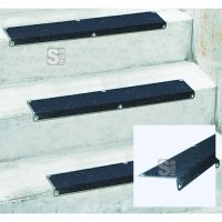 Edelstahl-Kantenprofil für Treppenstufen zur Schraubmontage, Rutschhemmung R13 nach DIN 51130
