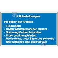 Elektrokennzeichnung / Hinweisschild, 5 Sicherheitsregeln