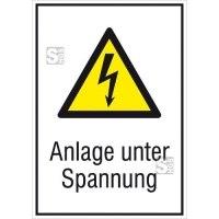 Elektrokennzeichnung / Kombischild mit Warnzeichen und Zusatztext, Anlage unter Spannung