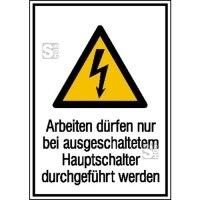 Elektrokennzeichnung / Kombischild mit Warnzeichen und Zusatztext, Arbeiten dürfen nur bei ...