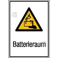 Elektrokennzeichnung / Kombischild mit Warnzeichen und Zusatztext, Batterieraum