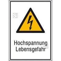 Elektrokennzeichnung / Kombischild mit Warnzeichen und Zusatztext, Hochspannung Lebensgefahr