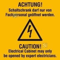 Elektrokennzeichnung / Warnkombischild, ACHTUNG! Schaltschrank darf nur ..., 2-sprachig