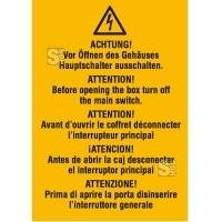 Elektrokennzeichnung / Warnkombischild, ACHTUNG! Vor Öffnen des Gehäuses Hauptschalter ausschalten, 5-sprachig