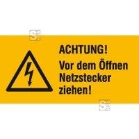 Elektrokennzeichnung / Warnkombischild, ACHTUNG! Vor dem Öffnen Netzstecker ziehen!